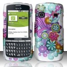 Hard Rubber Feel Design Case for Samsung Replenish M580 M580 - Purple Blue Flowers