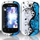 Hard Rubber Feel Design Case for LG Doubleplay C729 (T-Mobile) - Blue Vines