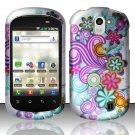 Hard Rubber Feel Design Case for LG Doubleplay C729 (T-Mobile) - Purple Blue Flowers