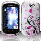 Hard Rubber Feel Design Case for LG Doubleplay C729 (T-Mobile) - Pink Garden