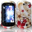 Hard Rubber Feel Design Case for LG Doubleplay C729 (T-Mobile) - Red Flowers