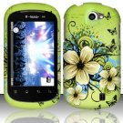 Hard Rubber Feel Design Case for LG Doubleplay C729 (T-Mobile) - Hawaiian Flowers
