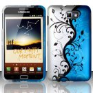 Hard Rubber Feel Design Case for Samsung Galaxy Note LTE - Blue Vines