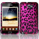 Hard Rubber Feel Design Case for Samsung Galaxy Note LTE - Pink Leopard
