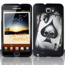 Hard Rubber Feel Design Case for Samsung Galaxy Note LTE - Spade Skull