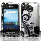 Hard Rubber Feel Design Case for LG Optimus 2 AS680 (Alltel) - Black Vines