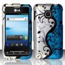 Hard Rubber Feel Design Case for LG Optimus 2 AS680 (Alltel) - Blue Vines