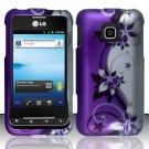 Hard Rubber Feel Design Case for LG Optimus 2 AS680 (Alltel) - Purple Vines