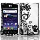 Hard Rubber Feel Design Case for LG Optimus M+ MS695 (MetroPCS) - Black Vines