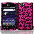 Hard Rubber Feel Design Case for LG Optimus M+ MS695 (MetroPCS) - Pink Leopard