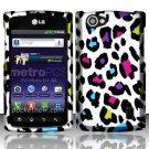 Hard Rubber Feel Design Case for LG Optimus M+ MS695 (MetroPCS) - Colorful Leopard