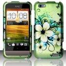 Hard Rubber Feel Design Case for HTC One V (Virgin Mobile) - Hawaiian Flowers