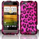 Hard Rubber Feel Design Case for HTC One V (Virgin Mobile) - Pink Leopard