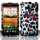 Hard Rubber Feel Design Case for HTC EVO 4G LTE (Sprint) - Colorful Leopard