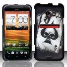 Hard Rubber Feel Design Case for HTC EVO 4G LTE (Sprint) - Spade Skull