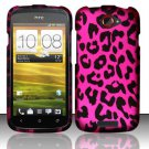 Hard Rubber Feel Design Case for HTC One S (T-Mobile) - Pink Leopard