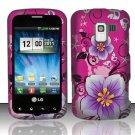 Hard Rubber Feel Design Case for LG Enlighten/Optimus Slider - Hibiscus Flowers