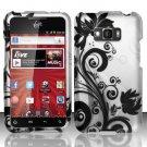 Hard Rubber Feel Design Case for LG Optimus Elite LS696 (Sprint) - Black Vines