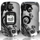 Hard Rubber Feel Design Case for Samsung Gusto 2 U365 (Verizon) - Black Vines