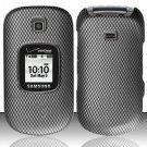 Hard Rubber Feel Design Case for Samsung Gusto 2 U365 (Verizon) - Carbon Fiber