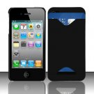 Hard Rubber Feel ID-holder Case for Apple iPhone 4/4S - Black