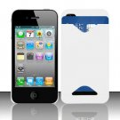 Hard Rubber Feel ID-holder Case for Apple iPhone 4/4S - White