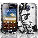 Hard Rubber Feel Design Case for Samsung Freeform 4 R390 (Cricket) - Black Vines
