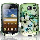 Hard Rubber Feel Design Case for Samsung Freeform 4 R390 (Cricket) - Hawaiian Flowers