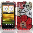 Hard Rhinestone Design Case for HTC One X (AT&T) - Fall Flowers