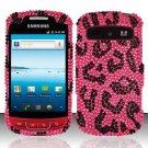 Hard Rhinestone Design Case for Samsung Admire R720 - Pink Leopard