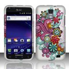 Hard Rubber Feel Design Case for Samsung Galaxy S II Skyrocket i727 (AT&T) - Purple Blue Flowers