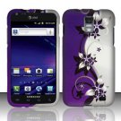 Hard Rubber Feel Design Case for Samsung Galaxy S II Skyrocket i727 (AT&T) - Purple Vines