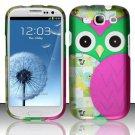 Hard Rubber Feel Design Case for Samsung Galaxy S3 III i9300 - Owl
