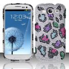 Hard Rhinestone Design Case for Samsung Galaxy S3 III i9300 - Colorful Leopard