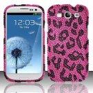 Hard Rhinestone Design Case for Samsung Galaxy S3 III i9300 - Pink Leopard