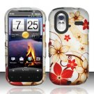 Hard Rubber Feel Design Case for HTC Amaze 4G (T-Mobile) - Red Flowers