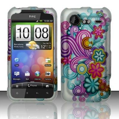 Hard Rubber Feel Design Case for HTC DROID Incredible 2 6350 (Verizon) - Purple Blue Flowers