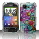Hard Rubber Feel Design Case for HTC DROID Incredible 2 6350 (Verizon) - Purple Blue Flowers