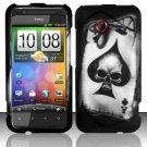 Hard Rubber Feel Design Case for HTC DROID Incredible 4G LTE (Verizon) - Spade Skull