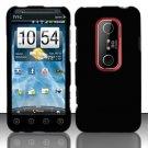 Hard Rubber Feel Plastic Case for HTC EVO 3D (Sprint) - Black