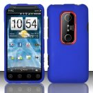 Hard Rubber Feel Plastic Case for HTC EVO 3D (Sprint) - Blue