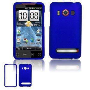 Hard Rubber Feel Plastic Case for HTC EVO 4G (Sprint) - Blue