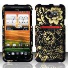 Hard Rubber Feel Design Case for HTC EVO 4G LTE (Sprint) - Golden Flowers