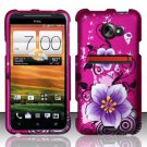 Hard Rubber Feel Design Case for HTC EVO 4G LTE (Sprint) - Hibiscus Flowers