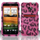 Hard Rhinestone Design Case for HTC EVO 4G LTE (Sprint) - Pink Leopard