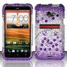 Hard Rhinestone Design Case for HTC EVO 4G LTE (Sprint) - Purple Gems