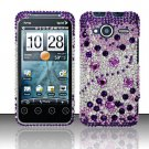 Hard Rhinestone Design Case for HTC EVO Shift 4G - Purple Gems