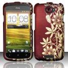 Hard Rubber Feel Design Case for HTC One S (T-Mobile) - Bronze Garden
