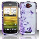 Hard Rubber Feel Design Case for HTC One S (T-Mobile) - Purple Garden