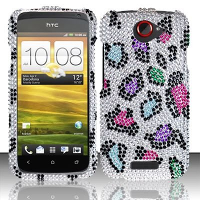 Hard Rhinestone Design Case for HTC One S (T-Mobile) - Colorful Leopard